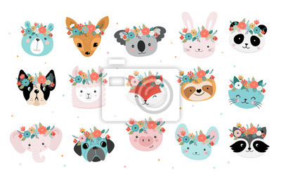 Plakat Cute foxes heads with flower crown, vector seamless pattern design for nursery, poster, birthday greeting cards