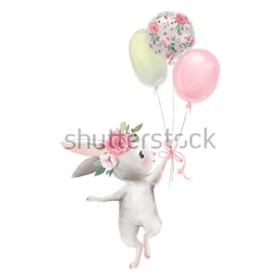 Plakat Cute girl baby bunny with flowers, floral wreath with balloons