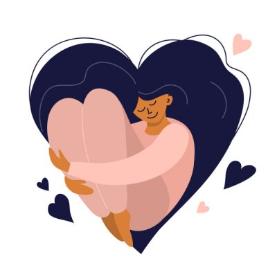 Plakat Cute girl with heart shaped long hair. Self care, love yourself icon or body positive concept. Happy woman hugs her knees. Illustration of International Women's day. Vector postcard, valentines card.