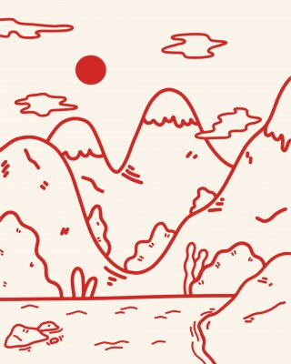 Plakat cute minimalist landscape illustration line art mountain range with a lake red line on a white background