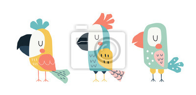 Plakat Cute parrots in a childish scandinavian style. Funny kids vector illustration. Cartoon hand drawn colorful set.
