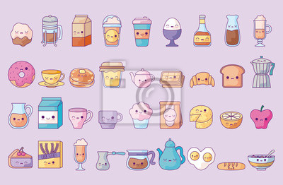 Plakat cute set icons style kawaii