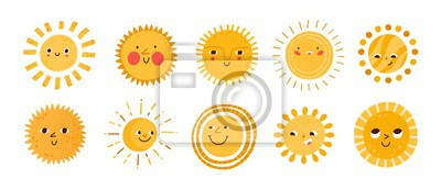 Plakat Cute sun flat vector illustrations set. Yellow childish sunny emoticons collection. Smiling sun with sunbeams cartoon character isolated on white background. T shirt print design element.