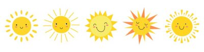 Plakat Cute suns. Sunshine emoji, cute smiling faces. Summer sunlight emoticons and morning sunny weather. Isolated funny smileys vector icons. Sunshine and sunny emoji, yellow face emoticon illustration