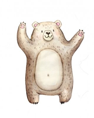 Plakat Cute watercolor bear, isolated illustration good for baby clothes print, children greeting card
