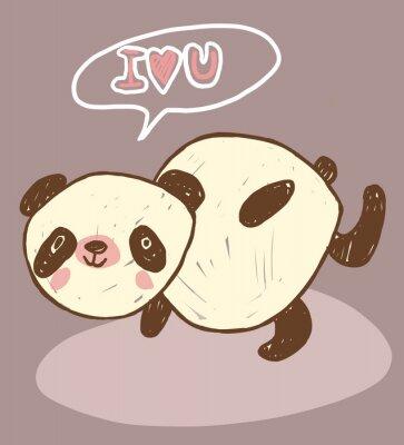 Plakat cute zwierząt panda z miłością