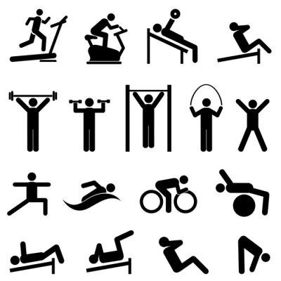 Plakat Ćwiczenia, fitness, zdrowie i siłownia ikony