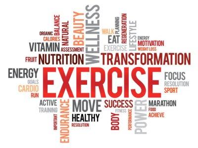 Plakat ĆWICZENIA wordcloud, fitness, sport, zdrowie koncepcja