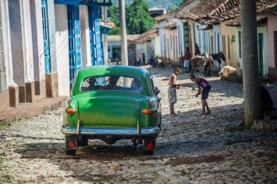 Plakat Cyrkulacja w starym kubańskiej ulicy