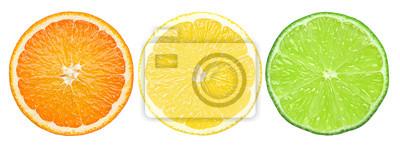 Plakat cytrusowy plasterek, pomarańcze, cytryna, wapno, odizolowywający na białym tle, ścinek ścieżka