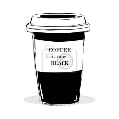 Plakat Cytuj pisanie na kawę czarne puchar. Kawa to nowa czarna kawa w stylu kaligrafii. Motywacja do promocji kawiarni. Typografia graficzna. R? Cznie narysowa?