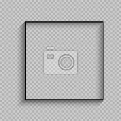 Plakat czarna cienka kwadratowa ramka z cienia