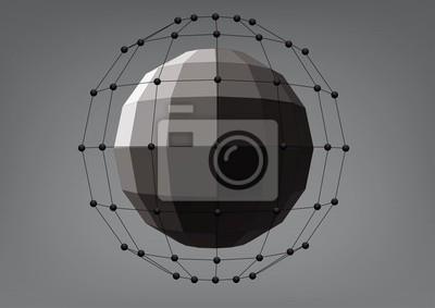 Czarna kula z prostokątnymi powierzchniami