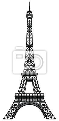 Plakat Czarna Sylwetka Wieży Eiffla