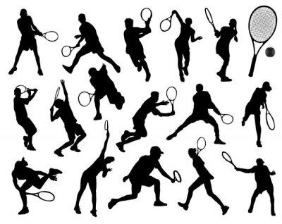 Plakat Czarne sylwetki tenisisty, wektor