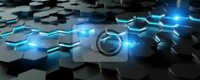 Plakat Czarni i błękitni sześciokąta tła wzoru 3D rendering