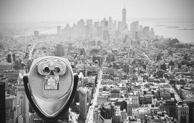 Plakat Czarno-białe kontrasty lornetki na Manhattanie w Nowym Jorku.