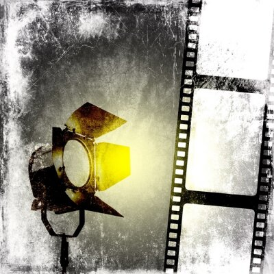 Plakat Czarno-białe tło z taśmy filmowej i reflektora
