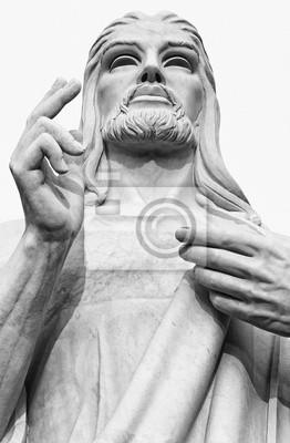 Plakat Czarno-biały obraz z figurą Jezusa Chrystusa
