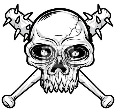 Czarny Biały Głowa Ilustracja Czaszki Wektor Plakaty Redro