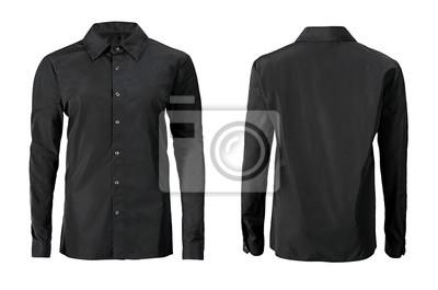 Plakat Czarny kolor formalna koszula z przycisku w dół kołnierz na białym tle