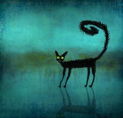 Plakat Czarny kot na tle gładkie pogłosowej