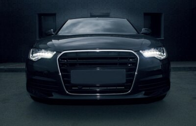 Plakat czarny potężny samochód sportowy