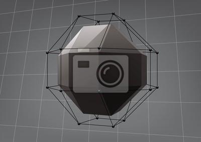Plakat Czarny rhombicuboctahedron do projektowania graficznego