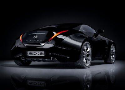 Plakat Czarny samochód sportowy. Niemarkowych projekt samochodu.