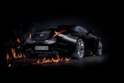 Plakat Czarny samochód sportowy. Non-branded projekt samochodu.