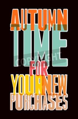 Plakat Czas jesień retro plakat. Wektor typograficzne projektowania do sprzedaży jesienią.