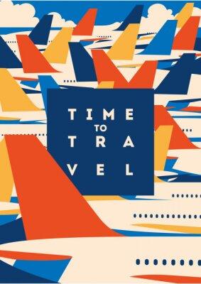 Plakat Czas na podróż i plakat z wakacji na lotnisku.