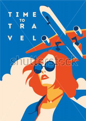 Plakat Czas na podróż i plakat z wakacji. Samolotowy Podróżny szablonu plakat, odznaka, wektorowa ilustracja. Plakat wakacje z napisem.