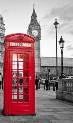 Plakat Czerwona budka telefoniczna w Londynie z Big Ben w czerni i bieli