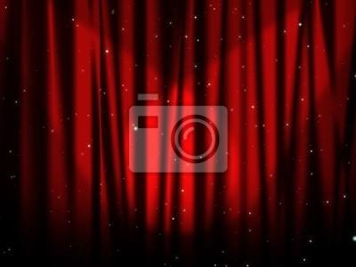 Plakat Czerwona kurtyna scenie z gwiazdami