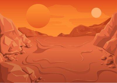 Plakat Czerwona Planeta Mars w przestrzeni. przestrzeń krajobrazu