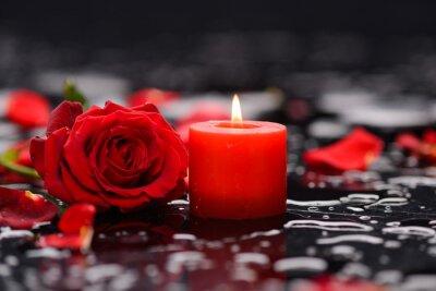 Plakat Czerwona róża, płatki z świec i kamienie terapii