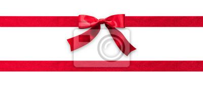 Plakat Czerwona wstążka zespół paskiem lub satynowa tkanina łuk na białym tle na białym tle ze ścieżką przycinającą do projektowania banerów, karty z pozdrowieniami i świątecznych prezentów dekoracji