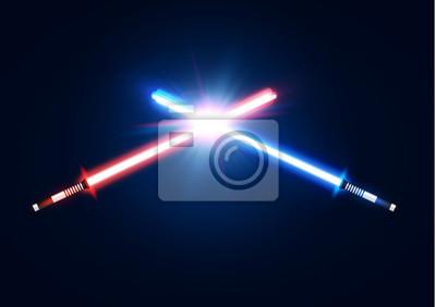 Plakat Czerwone i niebieskie skrzyżowane miecze neonowe z drżącą walką z ostrzami. Projektowanie warg laserowych szabel. Styl Scifi. Świecące promienie w przestrzeni kosmicznej. Elementy bitewne z gwiazdą, c