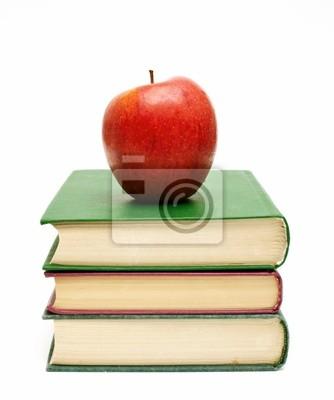Plakat czerwone jabłko na stos książek