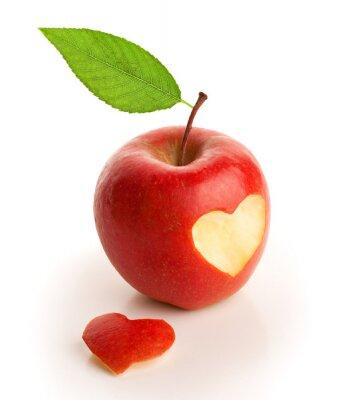 Plakat Czerwone jabłko z wyciętymi serca
