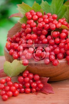 Czerwone jagody kaliny w drewnianej misce
