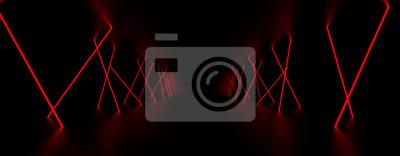 Plakat Czerwone światło lasera świeci w ciemnym pokoju. Ilustracja 3D.