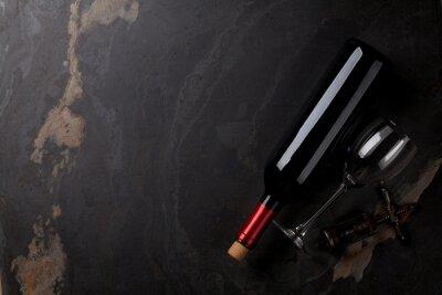 Plakat Czerwone wino butelki, szkło i korkociąg