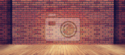 Plakat Czerwonej cegły ściany tekstury i drewna podłogi tła
