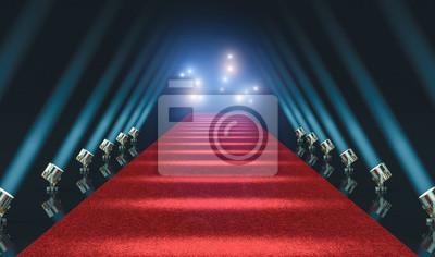 Plakat czerwony dywan i światła