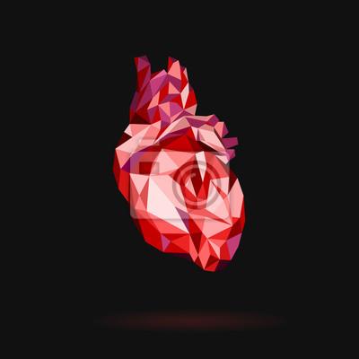 Czerwony serce stylizowane trójkąta wielobocznego modelu