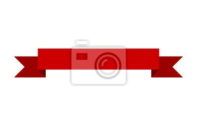 Plakat Czerwony sztandar wstążki wzór płaski wektorowych do druku oraz stron internetowych