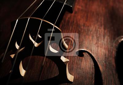 Plakat Część muzycznego instrumentu smyczkowego, zbliżenie