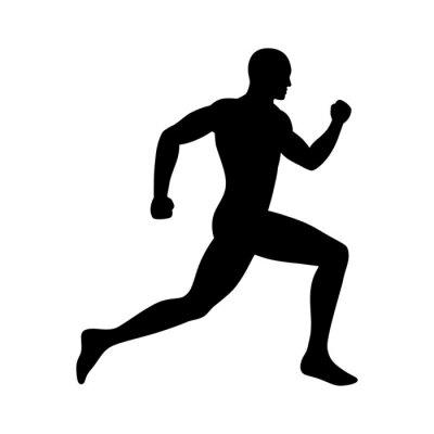 Plakat Człowiek działa / sprint sylwetka płaskim ikona aplikacji, ćwiczeń i stron internetowych